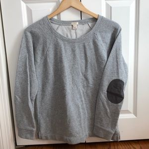 J. Crew grey pull over with brown elbow patches